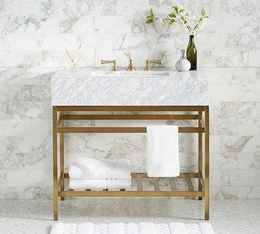 marble modern bathroom vanity with gold metal base