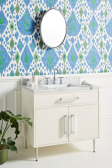modern bathroom vanity with lucite pulls