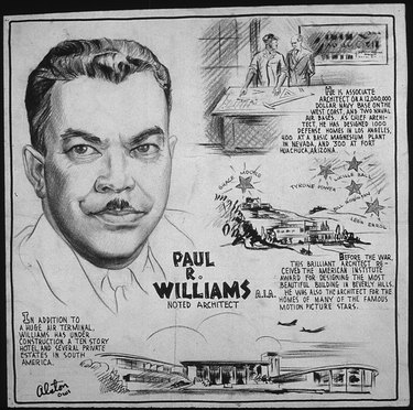 black and white drawing with text of Paul R. Williams