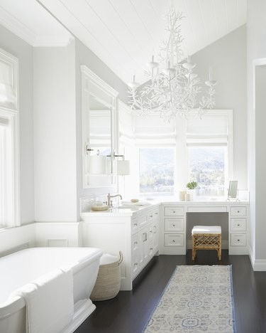 bathroom chandelier lighting idea with oversize white coral fixture