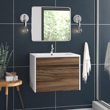 two tone wall mounted bathroom vanity