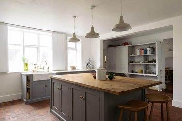 Red brick farmhouse kitchen floor