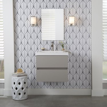 modern wall mounted bathroom vanity with double drawers