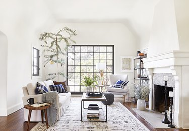 traditional living room with neutral palette