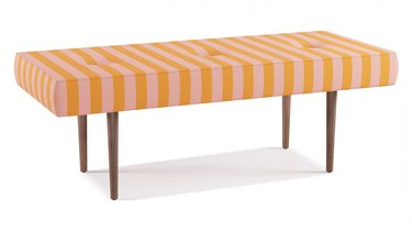 The Inside Midcentury Pink Stripe Bench, $399