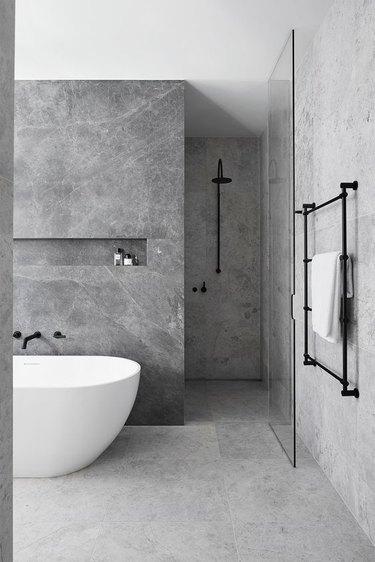 spa-like contemporary stone tile bathrrom