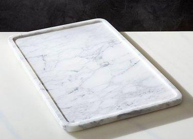 large rectangular marble serving tray