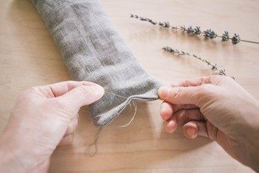 Tying up a lavender eye pillow