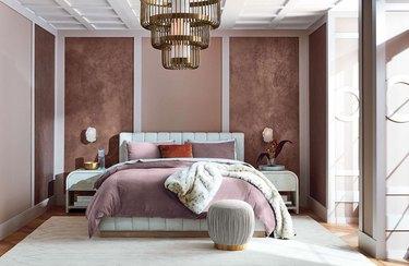 art deco bedroom with linen nightstands and channel tufted headboard