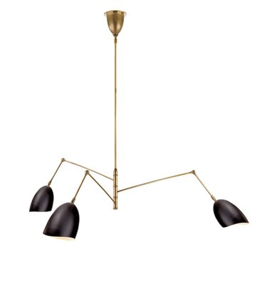 McGee and Co. Art Deco black and brass chandelier