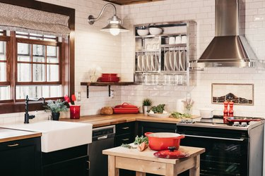 raw wood kitchen island ideas for small kitchens with red accents and stainless steel hood