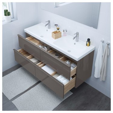 modern double bathroom vanity with glossy front