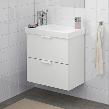 small bathroom vanity with double drawers