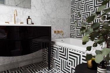 black and white marble and geometric bathroom