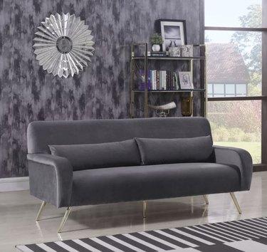 Joss & Main gray velvet couch
