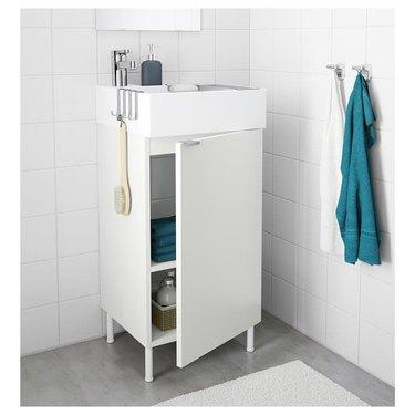small bathroom vanity with side hooks