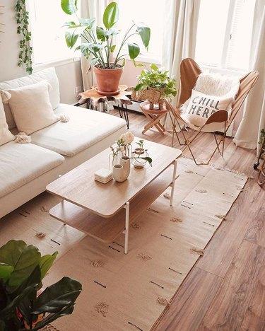 Beige, minimal bohemian living room