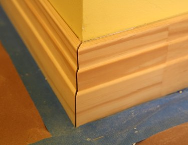 Baseboard miter joint.