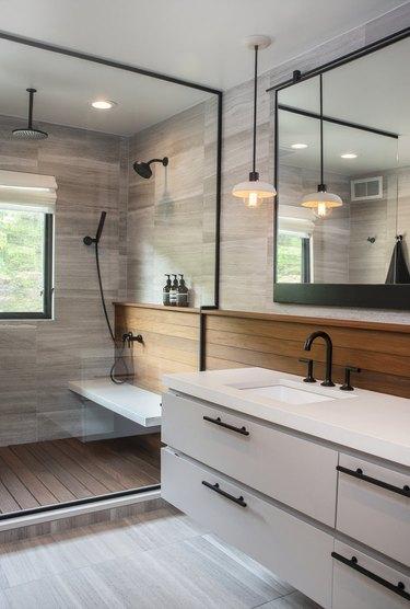 Bathroom Ceiling Light Idea by Dichotomy Interiors