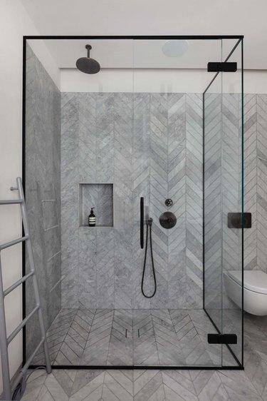 geometric marble stone tile bathroom