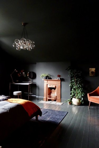 color meaning in black bedroom with black ceiling