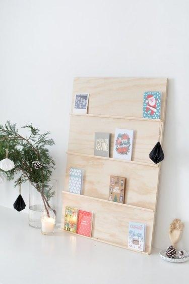 Plywood holiday card display