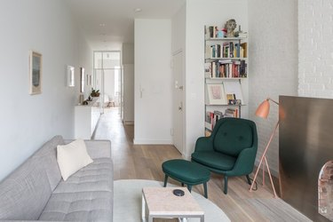 railroad style apartment with modern Scandinavian style furnishings