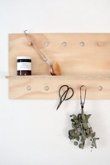 Pegboard shelf