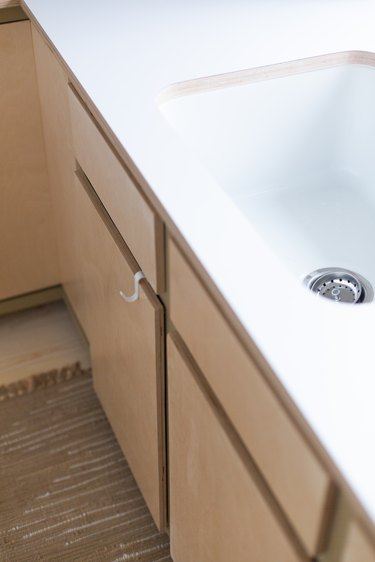 Plywood countertops with laminate layer.