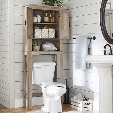 farmhouse over the toilet bathroom cabinet