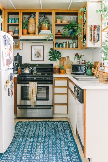 small rented bohemian kitchen makeover