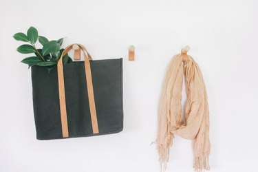 Leather and wood wall hooks, with bag and scarf