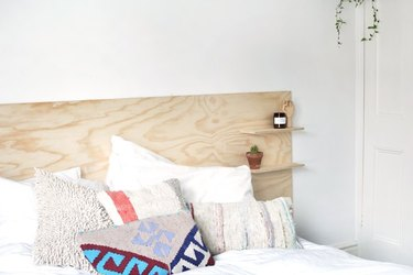 Plywood headboard with built in shelves