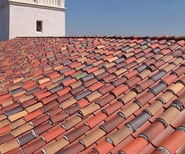 Mission tile roof.