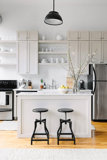 greige one wall kitchen with island