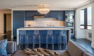 blue one wall kitchen with island