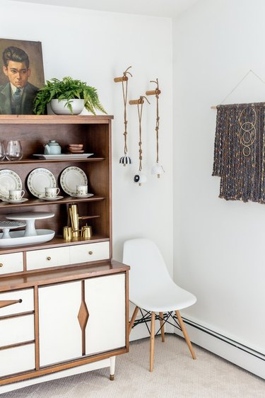 boho wall decor idea with earthy bells hanging