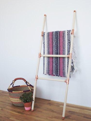 diy wood and copper blanket rack