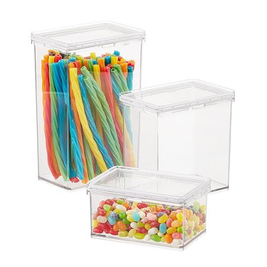 The Container Store clear pantry canisters with candy