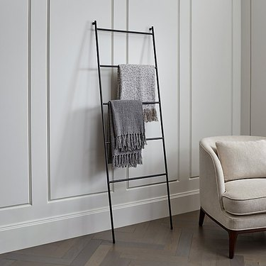 modern black iron blanket rack