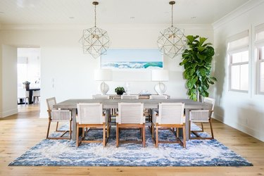 coastal dining room with oversize plant and woven dining chairs