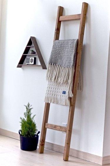 rustic wood blanket rack