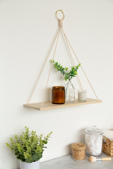DIY Hanging Wood Shelf for bathroom storage