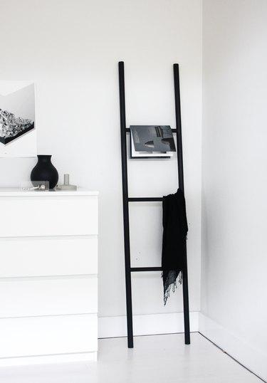 modern black DIY blanket rack