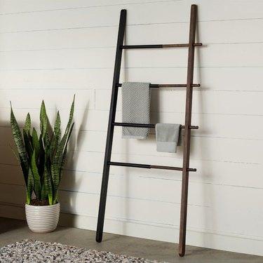 two-tone modern blanket rack