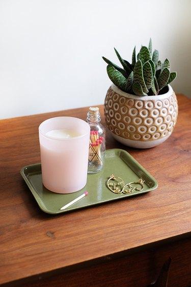 Pink jar candle