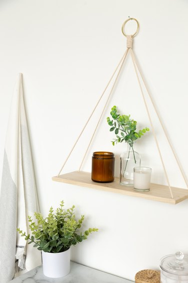 DIY Hanging Wood Shelf