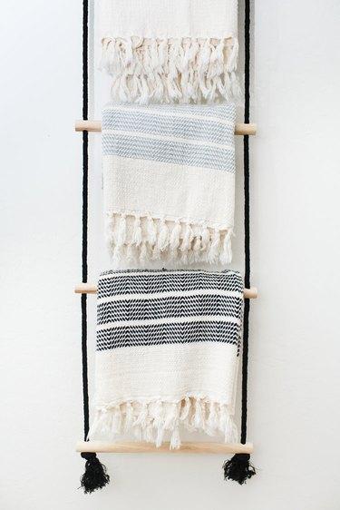 bohemian inspired DIY hanging blanket rack