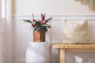 leather wrapped planter