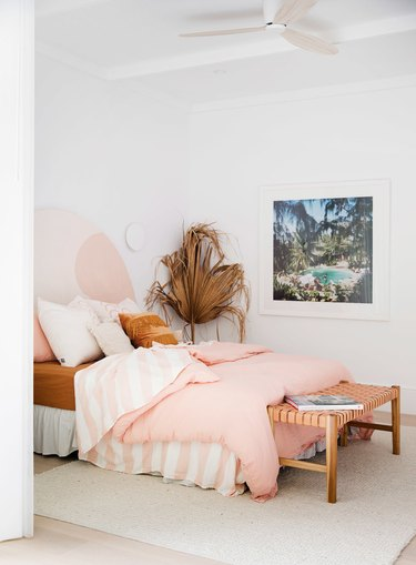 pink and white boho beach bedroom
